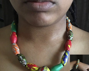 Blue-Green Ghanaian necklace set