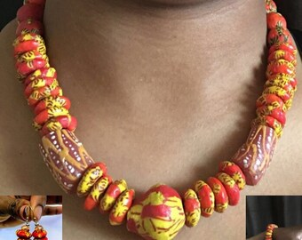 Orange Ghanaian necklace set