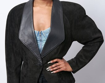 90s Leather Deep V Danier Jacket (Size Small)
