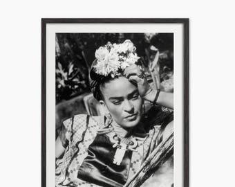 Frida Kahlo Art Print - Frida Kahlo Black and White Photograph