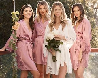 Set Of 6 Bridesmaid Robes | Bridesmaid Gifts | Bridal Party Robes | Lace Robe | Wedding Robes | Lace Bridal Robe | Bride Robe | Demi Robe