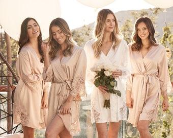 Bridesmaid Robes Set of 1,2,3,4,5,6,7,8,9,10,11,12,13,14 Bridesmaid Gifts-Custom Wedding Robes-Lace Robes-Bridal Robe-Satin Robe-Demi Robe