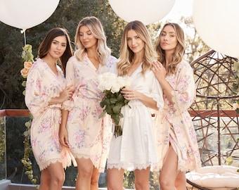 Bridesmaid Lace Robes | Bridesmaid Gifts | Bridal Party Robes | Satin Robe | Wedding Robes | Lace Bridal Robe | Bride Robe | Rylan Robe