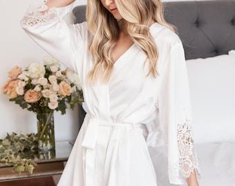 Bridesmaid Lace Robes | Bridesmaid Gifts | Bridal Party Robes | Satin Robe | Wedding Robes | Lace Bridal Robe | Bride Robe | Demi Robe