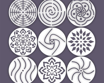 Set of 9 Mandala Stone Rock Stencils Small Templates
