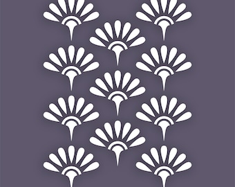 Art Deco style repeating Flower Design Stencil for Wallpaper, Fabric & Crafts