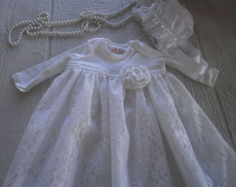 Gown Set, Baby Lace Gown with Bonnet,Christening Gown, White Gown Set, Blessing Gown, White Gown, White Lace Gown, Bautism Dress