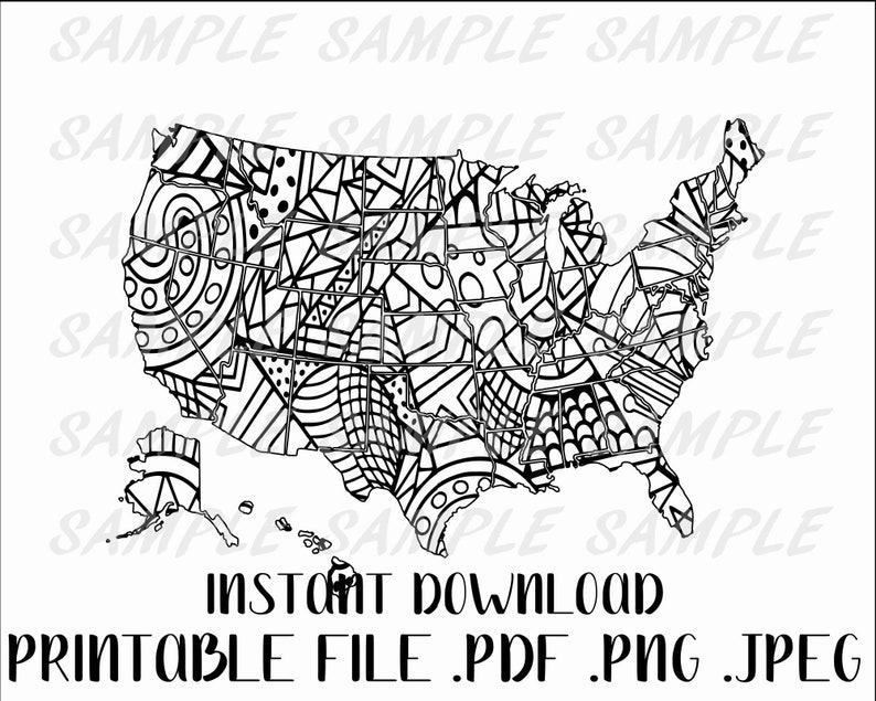 Coloring map, doodle map, USA coloring map, sales map, Etsy sales map,  Travel map, coloring sales map, coloring travel map, fun map coloring