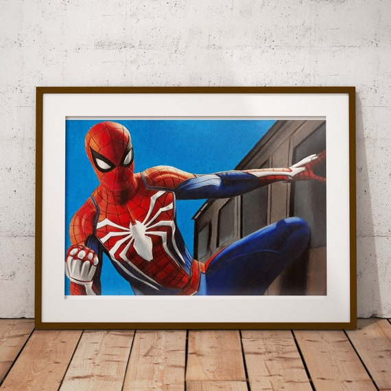 Spider-Man PS4 Drawing | Etsy