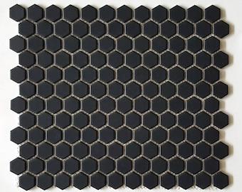 "Retro Black 1'' Hexagon Porcelain Mosaic Floor and Wall Tile, 12"" x 12"", Matte Finish - box of 10.90 sq ft"