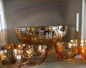 Egg Nog Punch Bowl Set Jeanette Glass Co Carnival Glass Eggnog Bowl