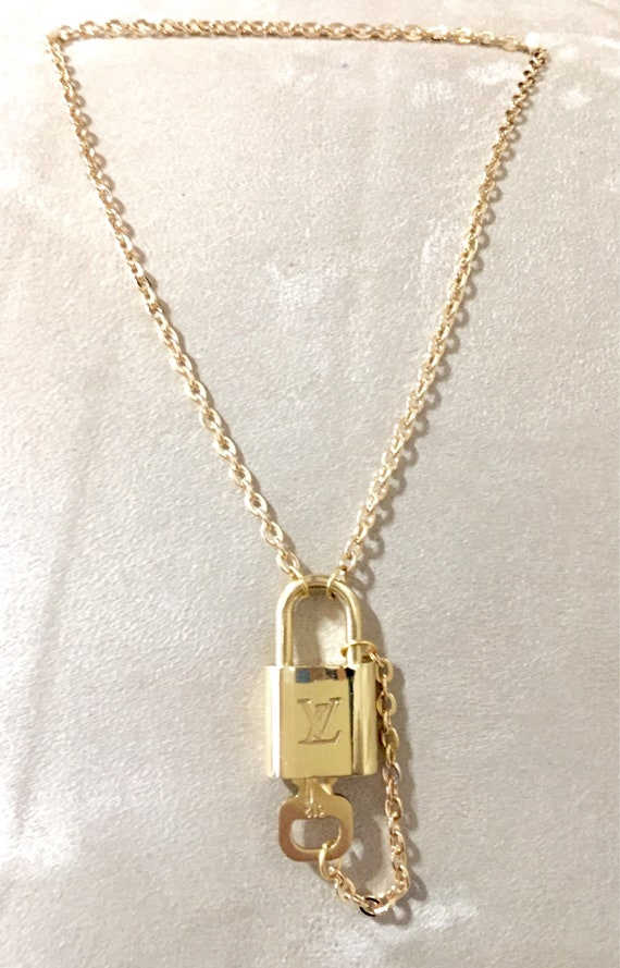 Upcycled Authentic Lv Lock &Amp; Key 18 K Gold Plated Necklace (Removable Key) by Etsy