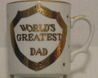 Norcrest China World's Greatest Dad Cofffee Tea Mug Cup Vintage Gold Trim 8 Ounce Capacity