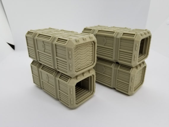 Sci-Fi Smaller Scale Container Pack #1 / 28mm Wargaming Terrain / Warlayer  /Print to Order / 3d Printed/Licensed Printer