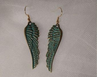 Blue Angel Wing Earrings
