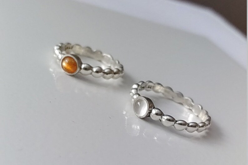 Sunstone dainty silver ring Delicate solitaire stackable ring with natural stone Half beaded all around. Natural Moonstone 4mm