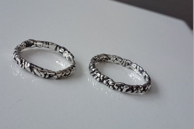 New band on the block. Different all around ; Change design every day Organic silver band ring Rustic Nature ring Funky Silver Band Ring