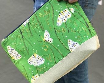 Handmade Makeup bag- Green- Heather Ross Sleep Porch Fabric