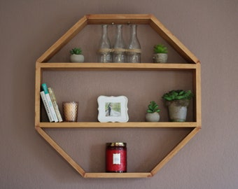 Cherry Octagon Hanging Shelf