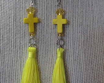 Yellow Cross Tassle Earrings