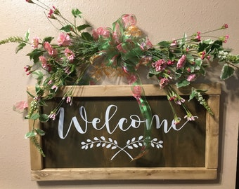 Welcome Sign - Brown, Farmhouse Sign, Large Farmhouse Sign, Framed Farmhouse Sign