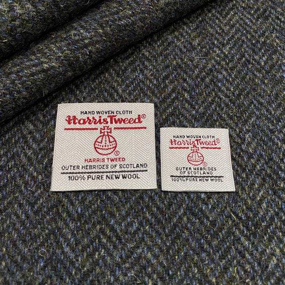 Harris Tweed Fabric Blue /& Black Tartan 100/% Wool With Authenticity Label All Sizes