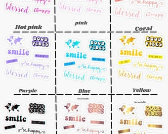 ae9be6359 Happy vibes sticker pack color choice
