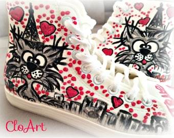 Clo In Paris- Lovely and funny hand-painted sneakers