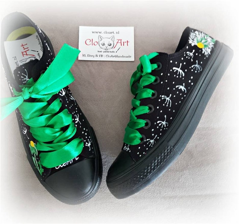 Dandelions Dandelion shoes Love dandelion gift Painted flowers sneakers Make a wish Painted dandelions tie sneakers Love flowers gift