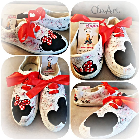 Hand Painted Sneakers Minnie and Mickey