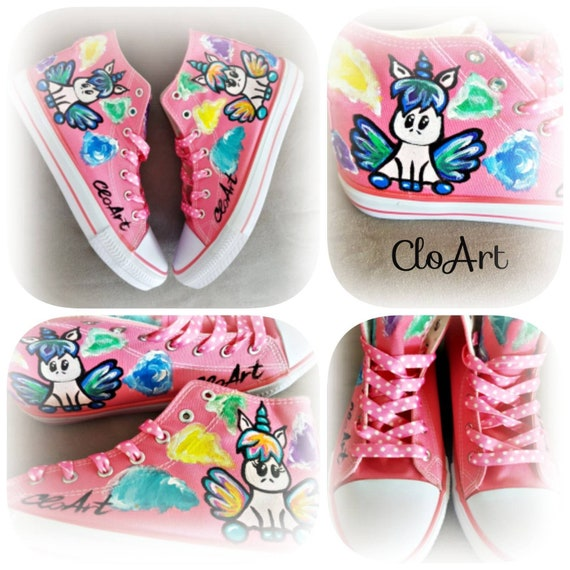 Painted Shoes Painted Unicorns Sneakers