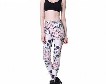 c243966710a16f Pink and White Sugar Skull Leggings Women Pants Fashion 3D Print Straight  Elastic Waistband Day of the Dead Leggings