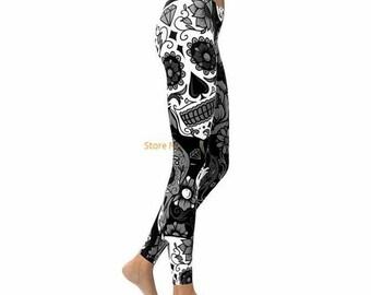 1c9268582a8 Black and White Sugar Skull Leggings Women Pants Fashion 3D Print Straight  Elastic Waistband Day of the Dead Leggings Yoga Pants