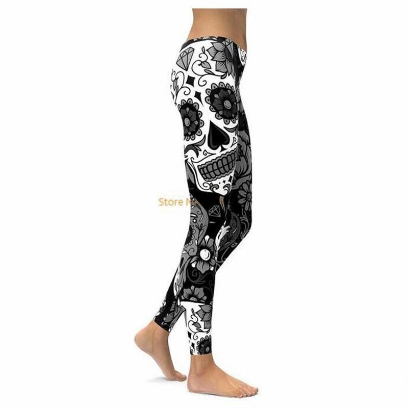 02fec842f5e55a Black and White Sugar Skull Leggings Women Pants Fashion 3D | Etsy