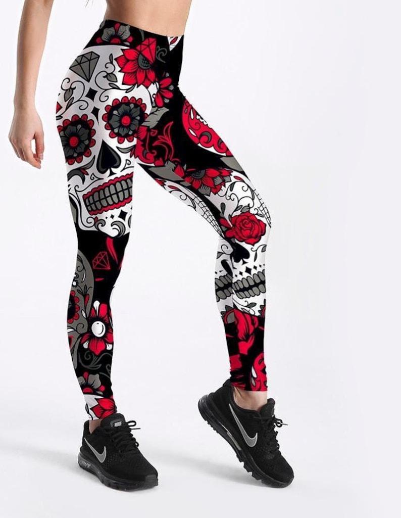 b4bd5f224295b Sugar Skull Leggings Women Pants Fashion 3D Print Straight | Etsy