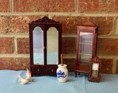 Miniature Furniture, Wardrobe, display case, wall clock, butter churn, chickens, 1 12 scale