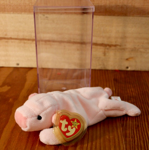c9134b85dc0 Ty Beanie Baby Squealer Pink Pig with tags and display case