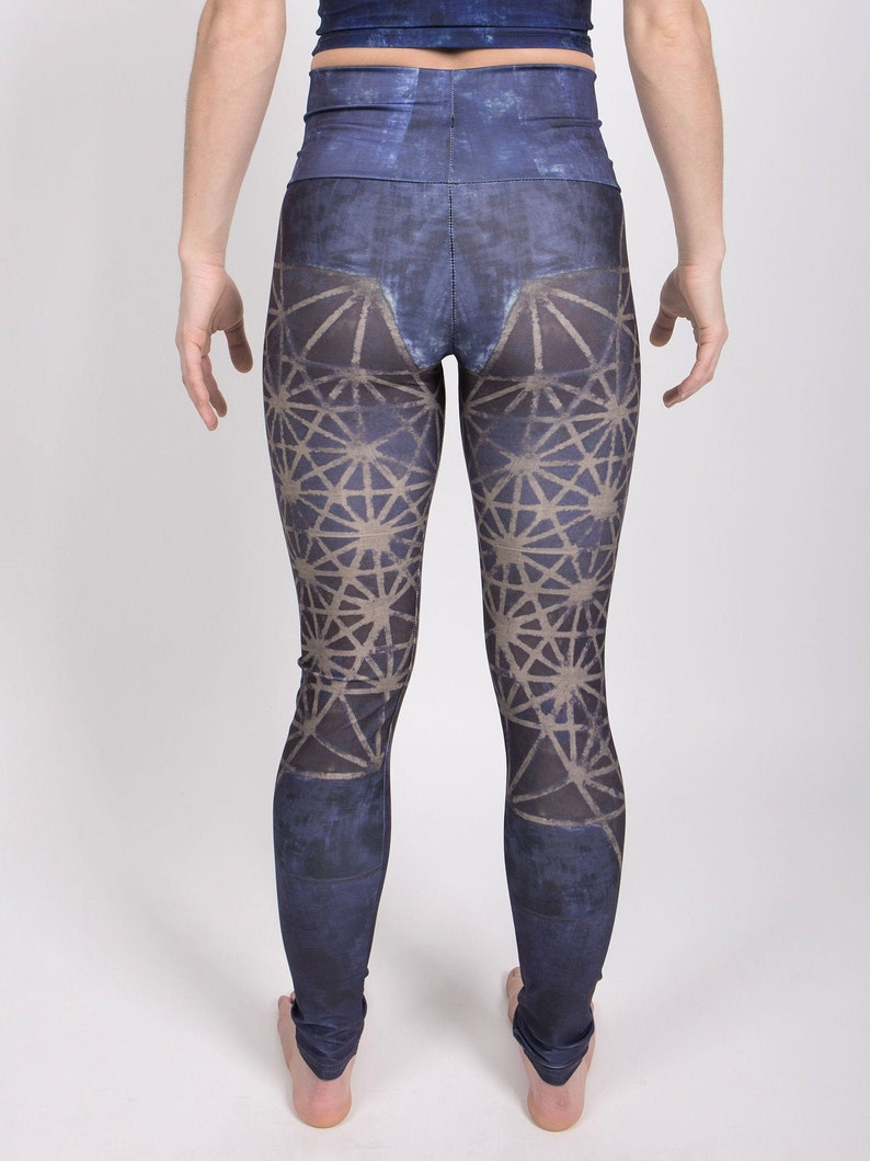 workout apparel new age clothing vegan printed leggings blue leggings high waisted leggings Sacred geometry yoga pants 64 tetrahedron