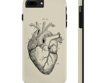 Black Heart On Ivory  - Tough Case for popular iPhone models