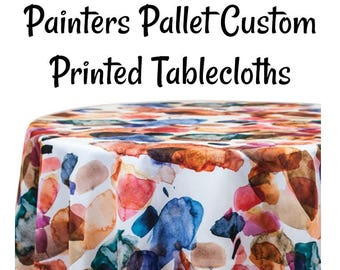 Custom Tablecloth Painters Pallet -Custom Printed Paint Pallet Print Tablecloth - Printed Tablecloth