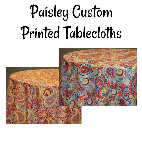Custom Tablecloth Custom Printed Paisley Tablecloth Paisley | Etsy