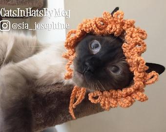 Handmade Crochet Little Lion Hat for Cats