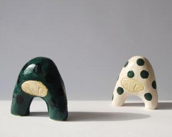Small-headed creatures / unique ceramic sculptures, ceramic figurines, home decor, ceramic art