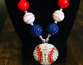 Chunky baseball rhinestone necklace