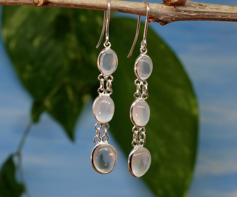 SALE 11/% Off Sterling Silver Handmade Drop Earring with Natural Moonstone Gemstones