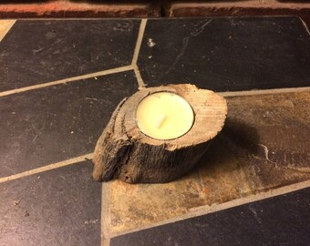 Wooden Tree Stump Candle Holder