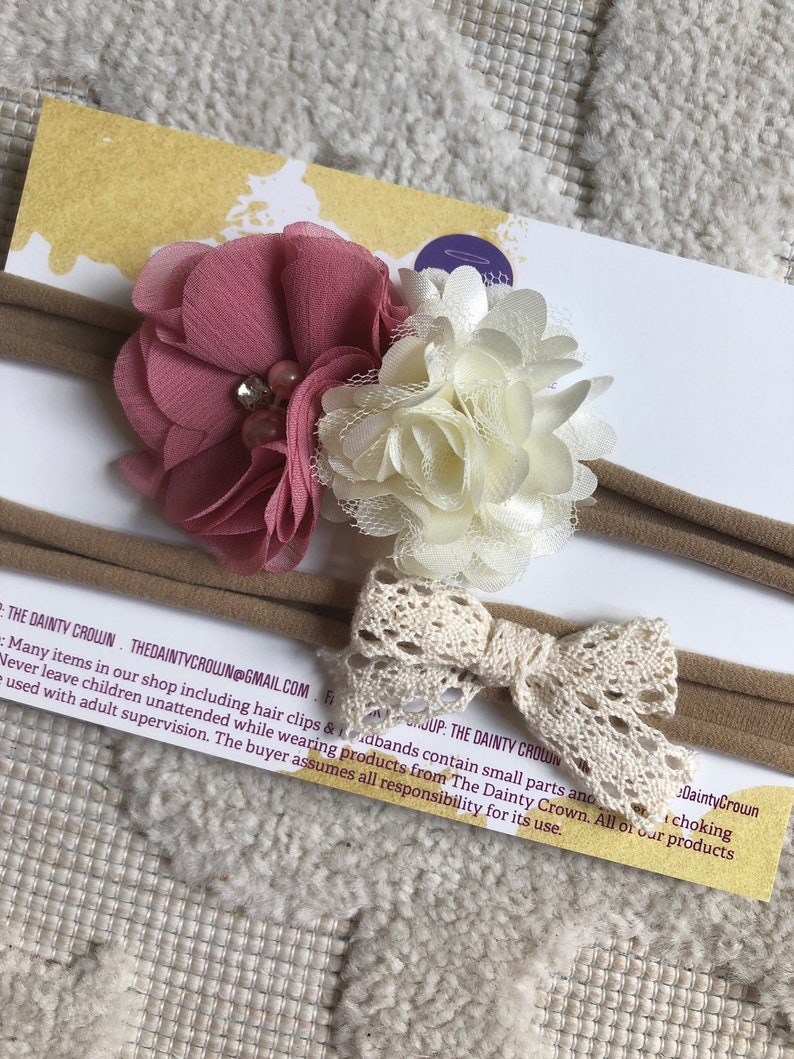 Nylon headband with chiffon flowers and the other with a crochet lace bow