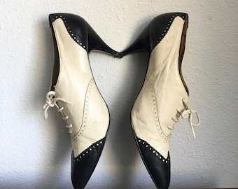 8d02f60fa7158 Stylish Black and Off white Leather Oxford Kitten Heels 7.5