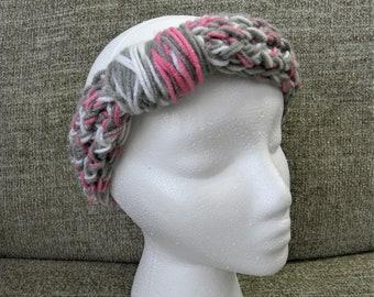 Gray, Pink, and White Knit Headband
