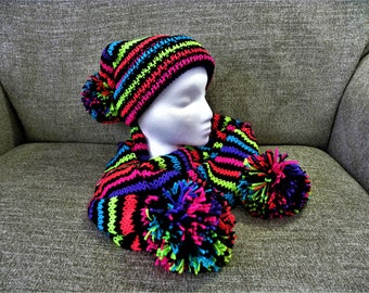 Hat and Scarf, Striped Neons and Black, Matching Set, Soft Yarn, Fun, Pom Poms, Gift